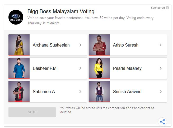 Bigg Boss Malayalam Vote 2019 – Asianet Polls Google Online