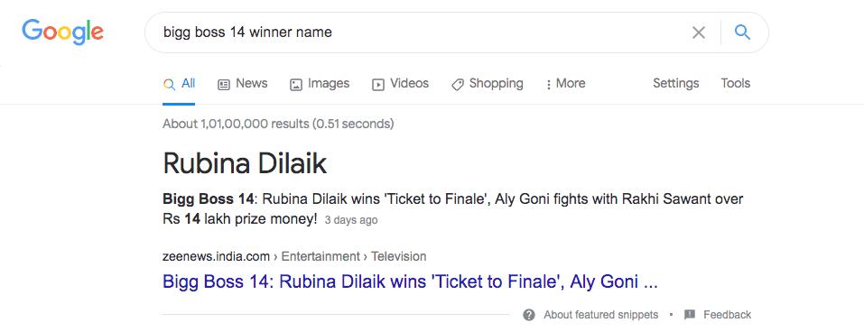 rubina dilaik winner of Bigg boss 14th Season